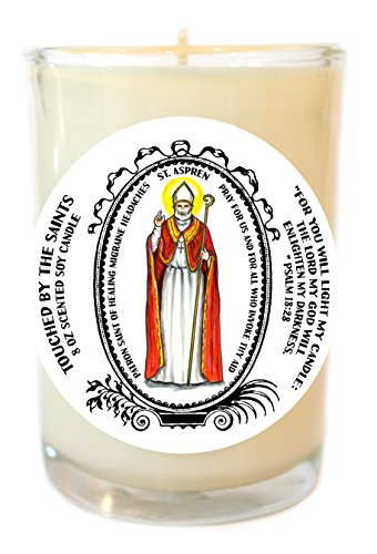 St Aspren Patron of Healing Headaches 8 Oz Scented Soy Glass Prayer Candle by Touched By The Saints