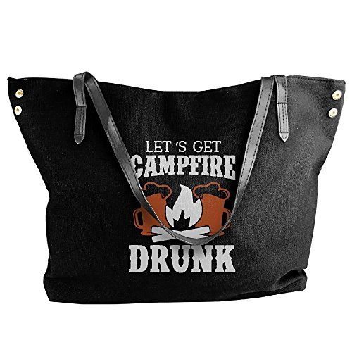 Tote Handbag Tote Let's Shoulder Black Hobo Drunk Canvas Campfire Bag Messenger Get Large Women's q7Hw4I1xaW