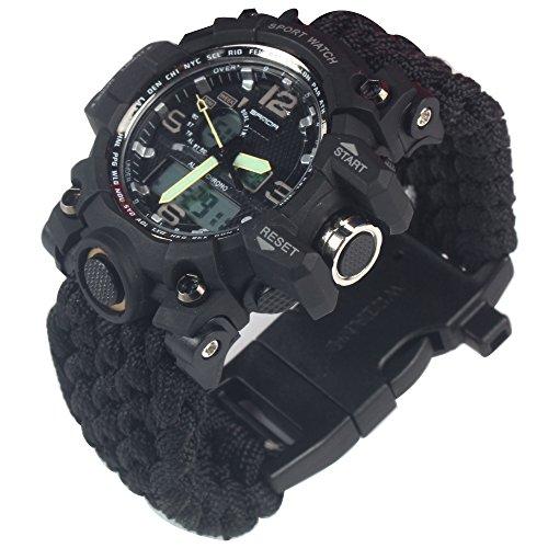 G-LEAF Waterproof Survival Watch Black Paracord (Silver)