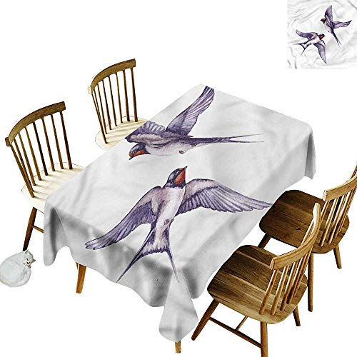Waterproof Table Cover Bird Two Flying Swallows Couple Resistant/Spill-Proof/Waterproof Table Cover 54