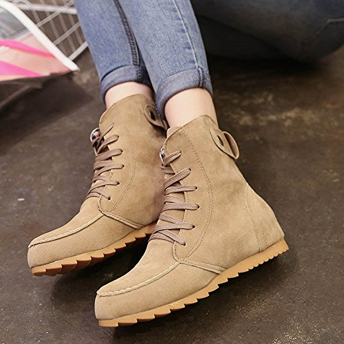 Up Autumn Solid Slip 34 Size Lace Winter Flat Ankle Suede Leather Flat Lace Women On Snow Boots 39 Round Motorcycle Byste Toe Boots Boot Wedges Kahki Up EU Female Elastic UHw6qxO