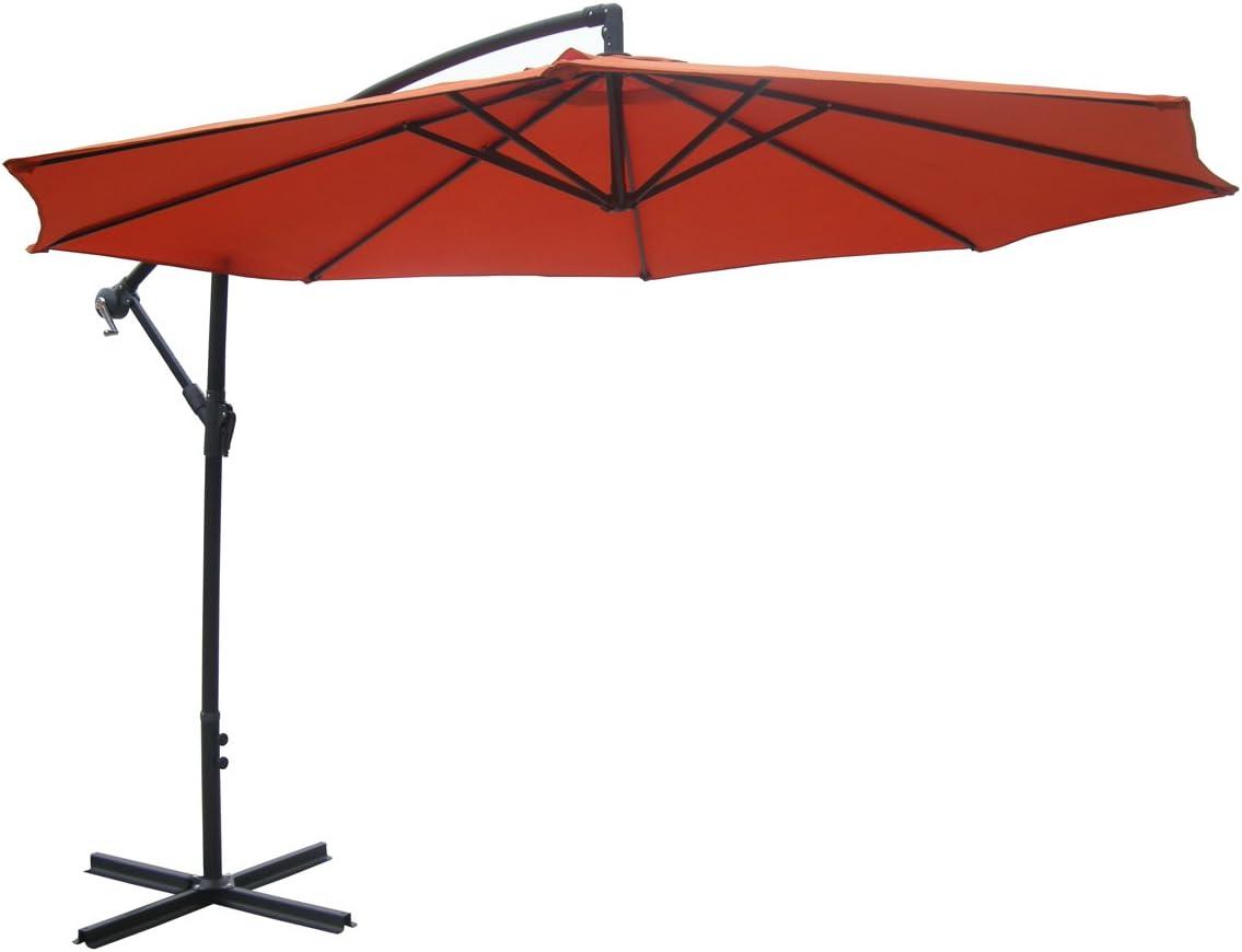 Zest Avenue 10-ft Orange Aluminum Patio Offset Umbrella