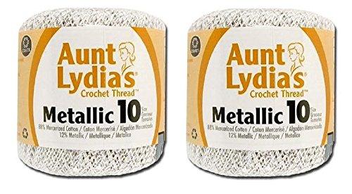 Aunt Lydia's Crochet Cotton Metallic Crochet Thread Size 10 (2 - Pack) (White/Silver) - Coats & Clark Metallic Thread