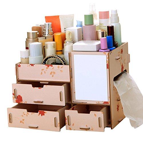 Yamalans Caja de Almacenamiento de Madera para cosméticos, DIY Color sólido para Mujer y niña, Floral, Pequeño, 1