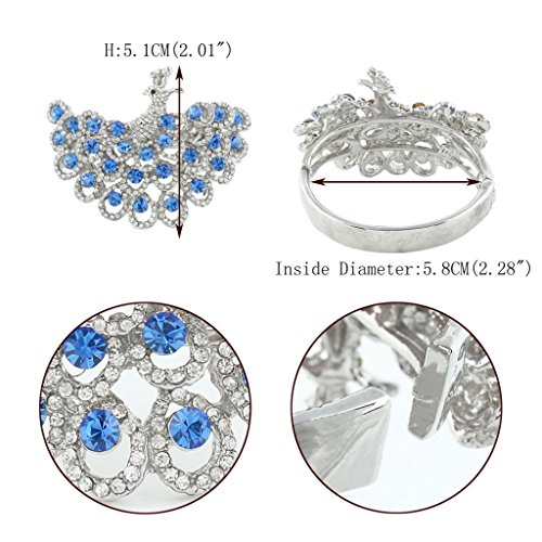 EVER FAITH® Cristal Autrichien Plume Paon Bracelet Ton d'Argent Bleu A06660-7