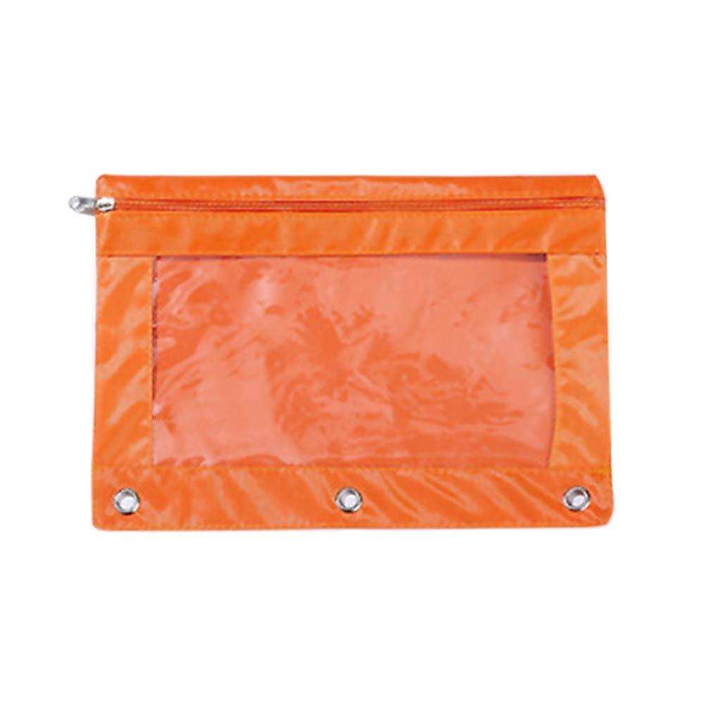 Lomsarsh 1PC New Pen Bag Zipper Briefcase File Holder Folder Mesh Organizer Office Three-Hole Large-Capacity Oxford Cloth Pencil Case