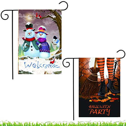 Shmbada 2Pcs Halloween and Merry Christmas Garden Flag, Double Sided Welcome Winter Flag, Outdoor Lawn Yard Decor Flags -