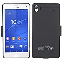 HZTech Battery Case, 3200mAh External Backup Power Bank Battery Charger Case Protective Cover for Sony Xperia Z3 (Black)