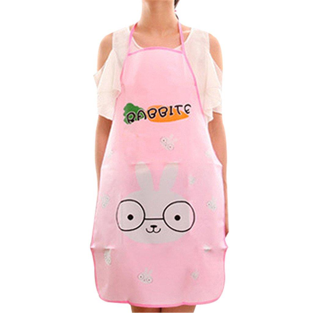 Everyday Kitchen Fashion Women Waterproof Cartoon Oil Resistant Cooking Bib Charm Apron (Pink)