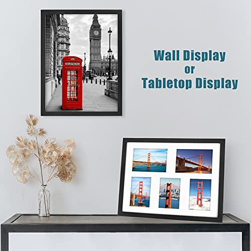 Lemecima Photo Frames, 2PCS Large Picture Frames with Mount, 12x16 Inch Multi Photo Frames for Wall Made of Solid pine Wall with High Definition Plexiglass, Black