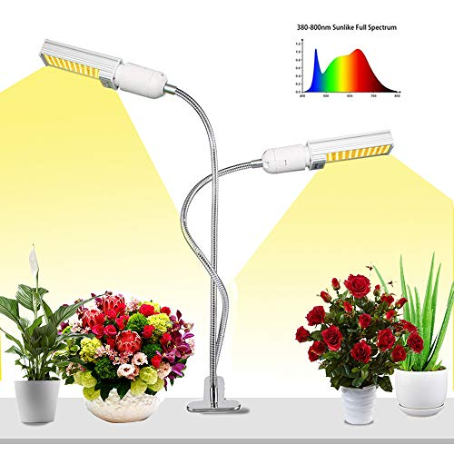 2 Heads LED Grow Light for Indoor Plant, ODISTAR Super Bright 45W 88LEDs Sunlike Full Spectrum Plant Lamp,Dual Head 360 Degree Gooseneck Plant Light with Replaceable Bulbs Double Switch for Indoor Pla