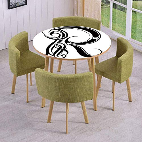 VAMIX Round Table/Wall/Floor Decal Strikers/Removable/Gothic Medieval Inspired Alphabet Font Capital R Calligraphic Design Illustration/for Living Room/Kitchens/Office Decoration ()