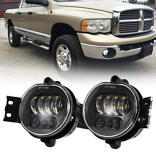 TRUCKMALL DOT Led Fog Lights Driver and Passenger Side Projector Lamps Bulb Accessories Kit Set for Dodge Ram 1500 2500 3500 Pickup Truck 2002 2003 2004 2005 2006 2007 2008 2009 Black ()