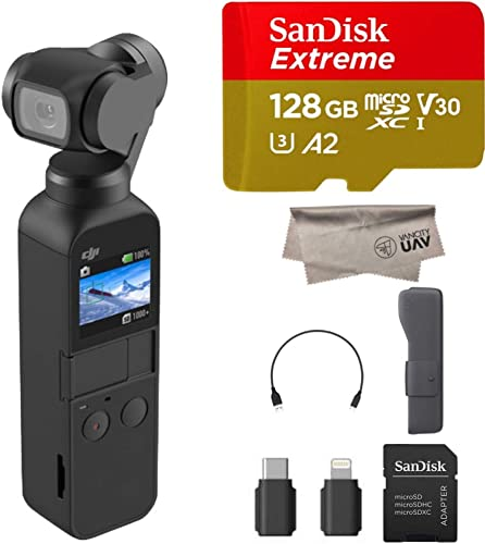 2019 DJI Osmo Pocket Handheld 3 Axis Gimbal with Integrated 4K Camera Bundle, Comes 128GB Extreme Micro SD