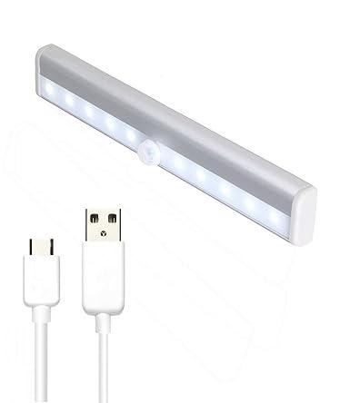 restbuy LED Armario Luz con detector de movimiento, led luz de noche con USB Cargar