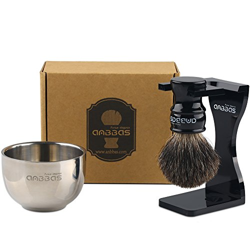 Anbbas Antique Pure Badger Shaving Brush and Soap Bowl, with Razor Stand for Mens