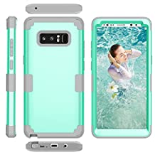Galaxy Note8 Case, MCUK [Shockproof] 3 in 1 High Impact Hybrid Armor Defender Silicone Rubber Hard Skin Heavy Duty Full-Body Protective Case Cover for Samsung Galaxy Note 8 (Mint Green+Grey)