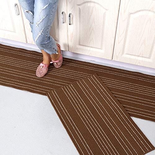 ssok rugs Rug for Kitchen, Floor Mat Non-Slip Runner Washable Kitchen Worktop Mat Oil-Absorbent Area Rug Doormat Carpet -Brown 48x240cm(19x94inch)
