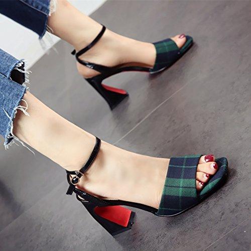 Verano Sandalias de Toe YMFIE Zapatos tacón Moda de de cómodos y Alto Rejilla Temperamento Toe a tacón Dama áspero xZB6P