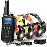 F-color Dog Training Collar, Range 2600ft Dog Shock Collar with Remote Rechargeable Waterproof with 4 Modes Light Beep Vibrating Shock Collar for Medium Large Dogs Breed, 3 Pack For Sale