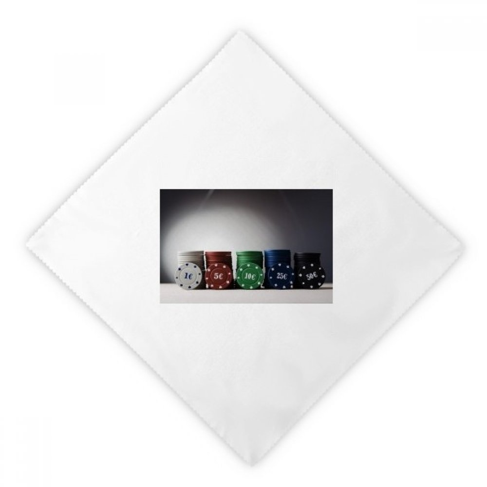 Chip Card Game Gambling Photo Dinner Napkins Lunch White Reusable Cloth 2pcs