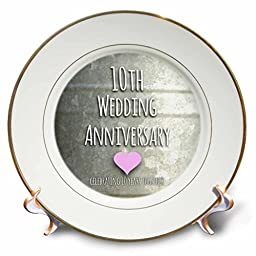 3dRose cp_154441_1 10Th Wedding Anniversary Gift Tin Celebrating 10 Years Together Tenth Anniversaries Ten Yrs Porcelain Plate, 8-Inch