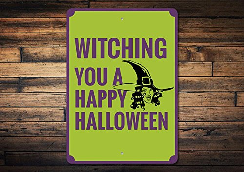 Witch Sign, Happy Halloween Sign, Halloween Decor, Witch Decor, Witch Lover Gift, Funny Halloween Phrase Sign, Quality Metal 8