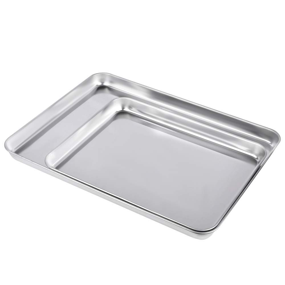 Baking Sheet Cookie Sheet Set of 2, Alotpower Stainless Steel Baking Pan Tray 15 inch Toaster Oven Tray Pan, Non Toxic, Healthy, Rust Free, Dishwasher Safe & Easy Clean