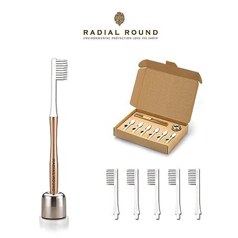 Radial redondo s30400 plasticless diseñado cepillo de dientes con cabezal de cepillo de repuesto 5 Count