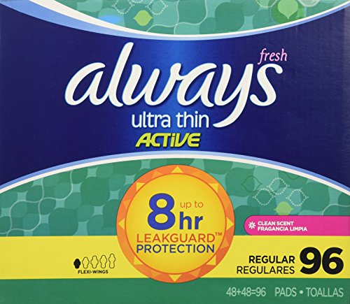 always-ultra-thin-active-pads-regular-with-flexi-wings-clean-scent-96-count