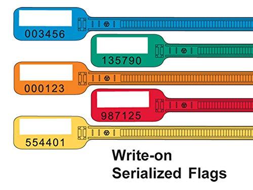 6'' Kable Kontrol Serialized Flag Identification Zip Ties - 100 Pack (6'' Long Write On Serialized Flag Ties, Orange)