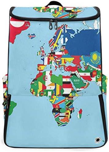 リュック メンズ レディース リュックサック 3way バックパック 大容量 ビジネス 多機能 世界地図 国旗 スクエアリュック シューズポケット 防水 スポーツ 上下2層式 アウトドア旅行 耐衝撃