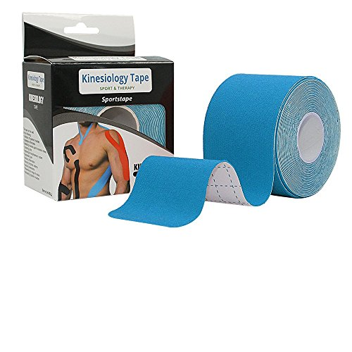 Elastic Kinesiology Therapeutic Sports Tape - Knee, Shoulder, Foot, Elbow, Ankle - Athletic Physiotherapy Kinesthetic Waterproof Breathable Rock Tape - 2 x 16.5 Feet Long Blue Kinetic Tape