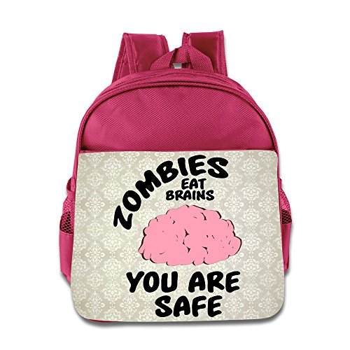 Children Zombies Eat Brains - You Are Safe! School Bag (2 Color:Pink Blue) (Pink Power Ranger Toddler Costume)