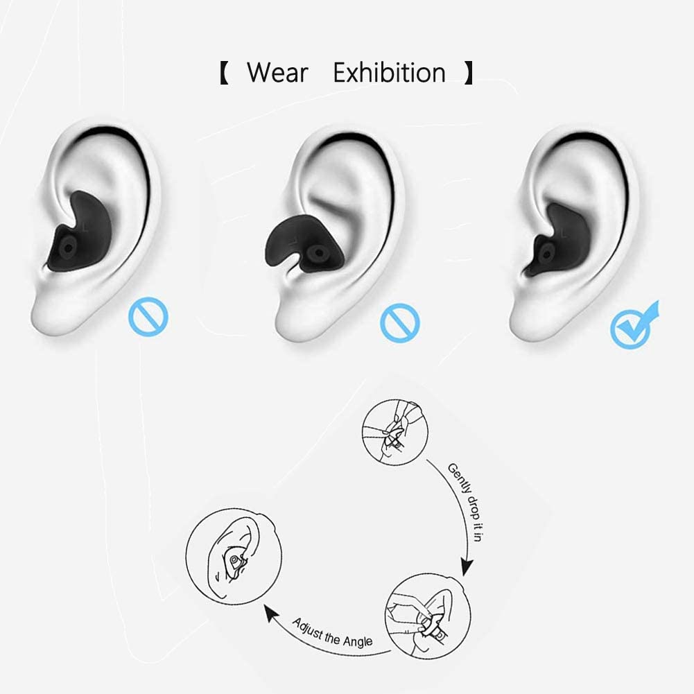 HMDGS Upgraded Design Silicone Swimming Earplugs 3 Pairs Waterproof Reusable Ear Plugs with 3pcs Swimming Nose Clip for Swimming Showering Bathing Surfing Water Sports Adult Size