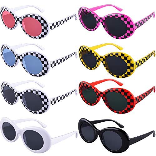 SIQUK 8 Pairs Clout Goggles Oval Sunglasses 8 Colors Thick Frame Round Lens Sunglasses Retro Kurt Mod Goggles for Girls Boys(Bonus: 1 Pc Eyeglasses Cloth)
