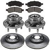 Prime Choice Auto Parts RHBBK0467 2 Front Brake Rotors & 4 Ceramic Pads & 2 Hub Bearing Assemblies
