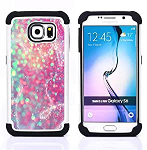 """Samsung Galaxy S6 / SM-G920 - 3 en 1 impreso colorido de Altas Prestaciones PC Funda chaqueta Negro cubierta gel silicona suave (Trullo púrpura rosado brillante de la nieve"""")"""