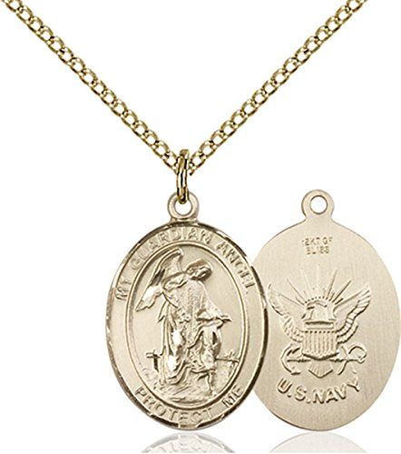 14K Gold Filled Guardian Angel Navy Military Medal Pendant, 3/4 Inch