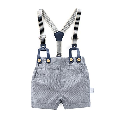 Baby Boys Gentleman Outfits Suits, Infant Short Sleeve Shirt+Bib Pants+Bow Tie Overalls Clothes Set by Boarnseorl (Image #5)