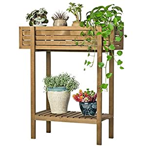 Sam@ American Country Style Trough-like Solid Wood Flower Stand Balcony Floor Flower Plant Rack Organizer ( Size : M )