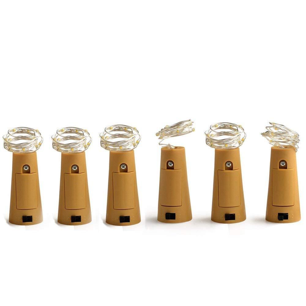 6 unidades de 20 luces LED para botella de vino, forma de corcho, cadena de alambre de cobre para decoración de botellas, Navidad, boda y fiesta, ...