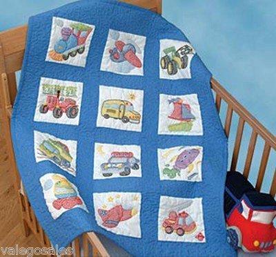 Jack Dempsey Needle Art 30079 Nursery Quilt Transportation Blocks 12 Quilt Blocks 9Inchby9Inch White
