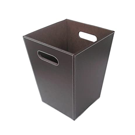 kingfom classic leather trash cans creative waste paper basket storage bin for office