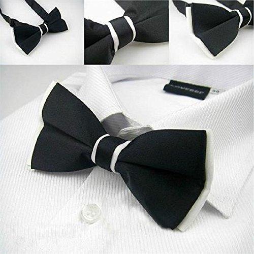 Ownsig 1X Fashion Men Plain Bowtie Polyester Pre Tied Wedding BowTie Black+White
