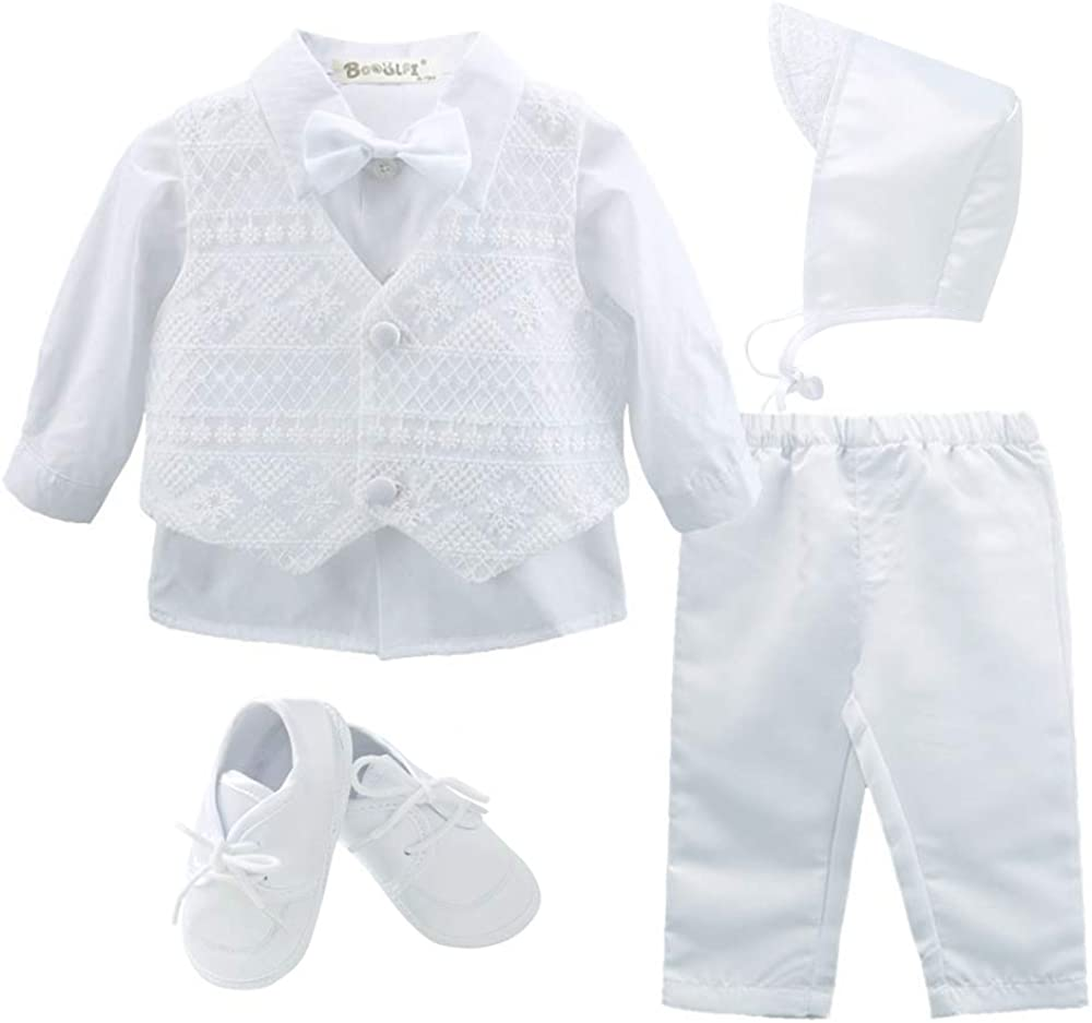 Booulfi Baby Boys 5 Pcs Set Christening Baptism Outfits