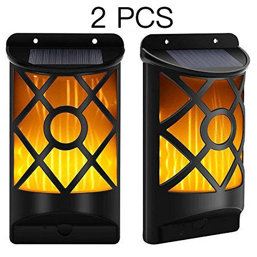 Solar Wall Light Lychee Amber Patio Solar Porch Lamp, Dark Sensor Flickering Flames 66 pc LED Sun Powered Light for Fence, Lawn, Yard, Garden (2 Pack) (Amber Amber Solar Lights)
