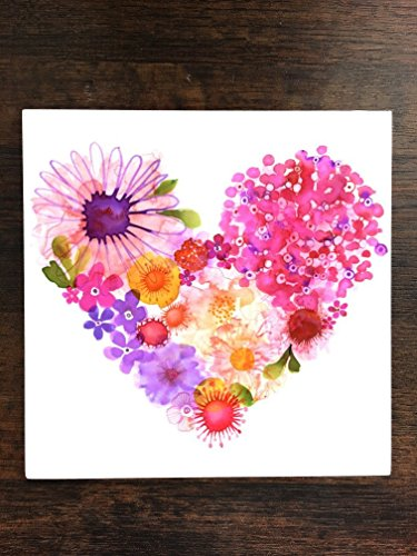 Watercolor Flowers in a Heart Love One Piece Premium Ceramic Tile Coaster 4.25