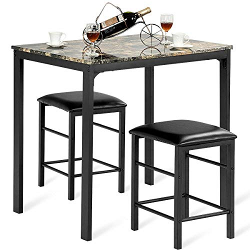 (GJH One Counter Height Dining Set Faux Marble Table 2 Chairs Kitchen Bar Furniture 3 PCS )