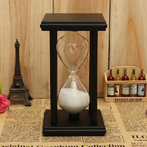 Zehui Decor Xmas Home Gift Black-white Sand 30Mins Wooden Frame Sand Sandglass Hourglass Timer Clock